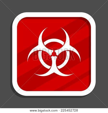 Biohazard icon. Flat design square internet banner.