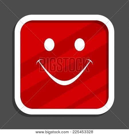 Smile icon. Flat design square internet banner.