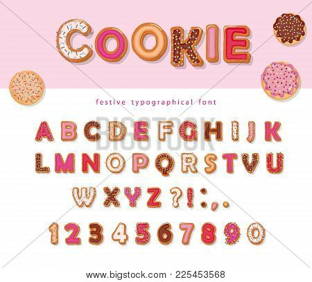 Cookie Hand Drawn Decorative Font. Cartoon Sweet Abc Letters And Numbers. For Birthday Or Valentines