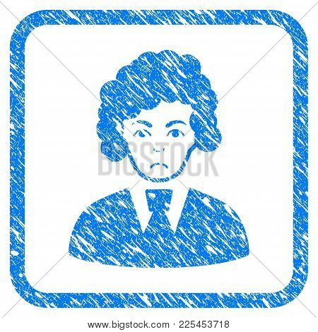 Clerk Woman Rubber Seal Stamp Watermark. Icon Vector Symbol With Grunge Design And Dust Texture Insi