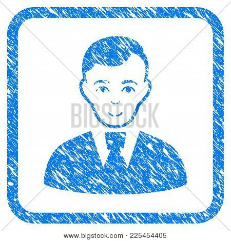 Clerk Guy Rubber Seal Stamp Imitation. Icon Vector Symbol With Grunge Design And Corrosion Texture I