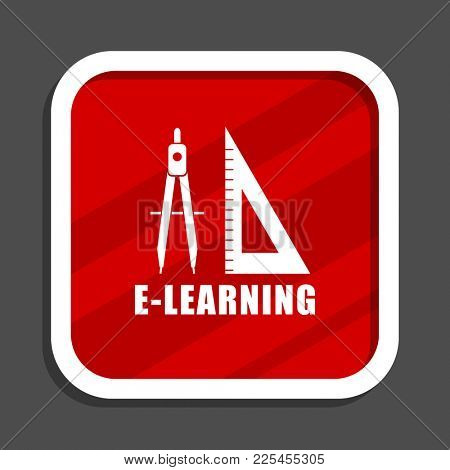 Learning icon. Flat design square internet banner.