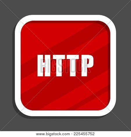 Http icon. Flat design square internet banner.