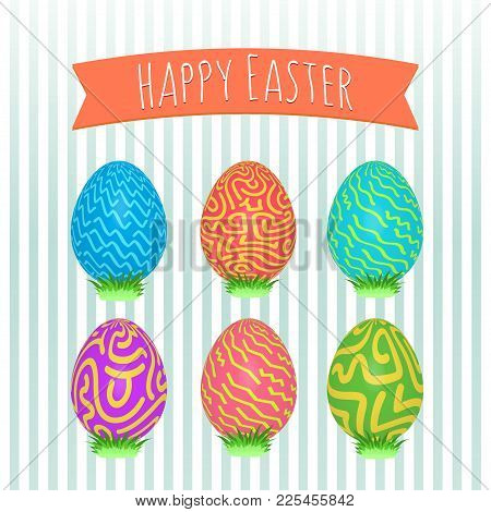 Easter Eggs Set. Colorful Holiday Patterns. Realistic Easter Eggs. 3d. Vector Background. Spring Hol