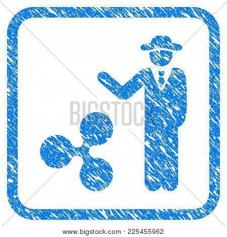Businessman Show Ripple Rubber Seal Stamp Imitation. Icon Vector Symbol With Grunge Design And Corro