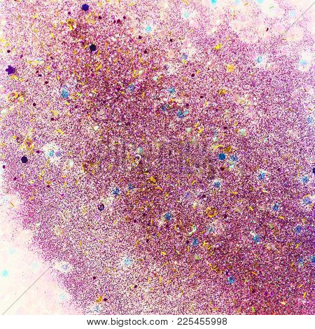 Abstract Glitter Design With Pink And Purple Glitter, Gold Hearts And Holographic Chunky Pieces For