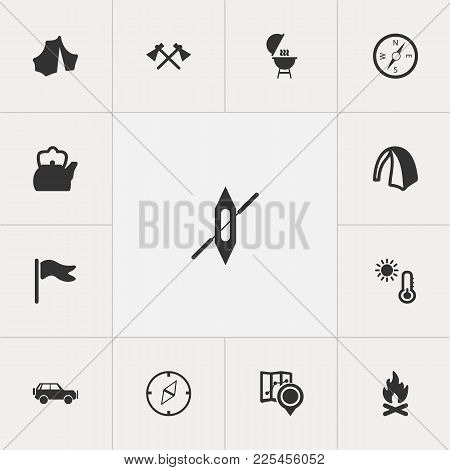 Set Of 13 Editable Trip Icons. Includes Symbols Such As Location, Teapot, Circus And More. Can Be Us