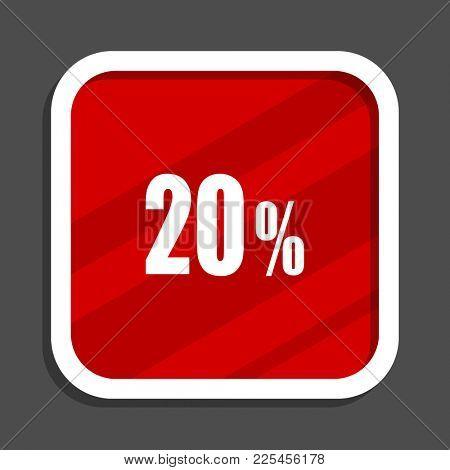 20 percent icon. Flat design square internet banner.