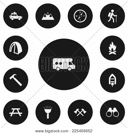 Set Of 13 Editable Travel Icons. Includes Symbols Such As Hatchet, Flame, Peak And More. Can Be Used