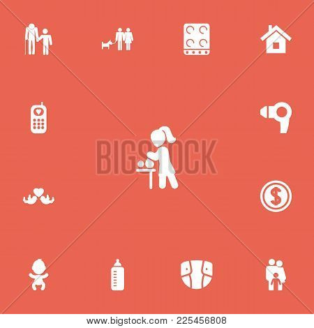 Set Of 13 Editable Relatives Icons. Includes Symbols Such As Couple, Feeder, Grandpa. Can Be Used Fo