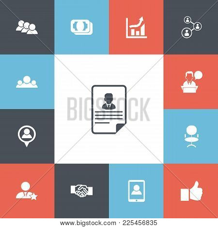 Set Of 13 Editable Business Icons. Includes Symbols Such As Businessman, Talking Man, Like And More.