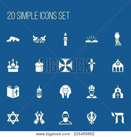 Set Of 20 Editable Faith Icons. Includes Symbols Such As Sajdah, Candlestick, Minaret. Can Be Used F
