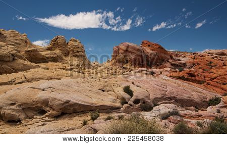 Pastel Colored Rocks At The Valley Of Fire State Park In Nevada, Usa