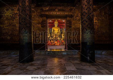 Luang Prabang, Laos - December 15, 2015: Approach Of A Historical Temple In The World Heritage Site,