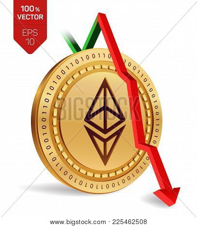 Ethereum. Fall. Red arrow down. Ethereum index rating go down on exchange market. Crypto currency. 3D isometric Physical Golden coin isolated on white background. Vector illustration