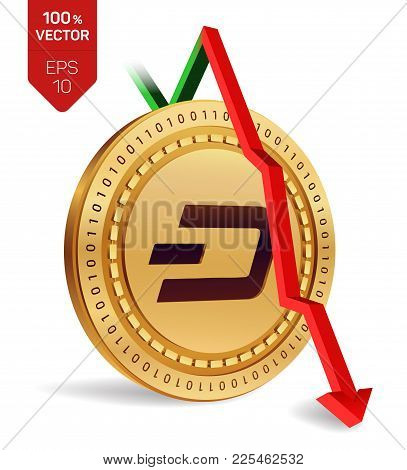Dash. Fall. Red arrow down. Dash index rating go down on exchange market. Crypto currency. 3D isometric Physical Golden coin isolated on white background. Vector illustration