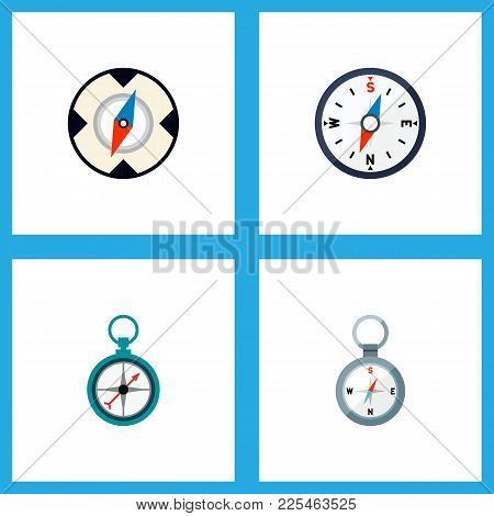 Icon Flat Compass Set Of Direction, Magnet Navigator, Navigation And Other Vector Objects. Also Incl