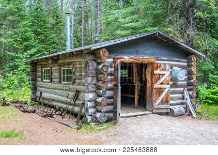 An Abandoned Logging Cabin Deep In The Forest. Ontario, Canada