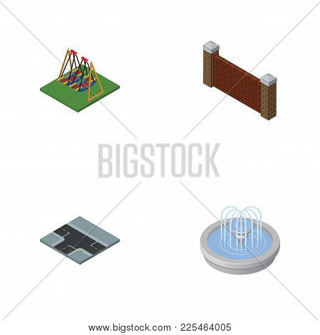 Isometric Urban Set Of Park Decoration, Barrier, Crossroad And Other Vector Objects. Also Includes S