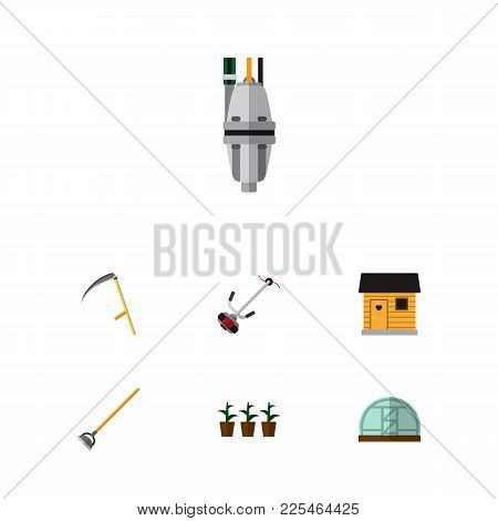 Icon Flat Dacha Set Of Plant, Scythe, Barn And Other Vector Objects. Also Includes Tool, Cutter, Sta