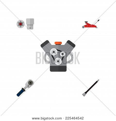 Icon Flat Workshop Set Of Jack, Spherical Joint, Coupler And Other Vector Objects. Also Includes Car