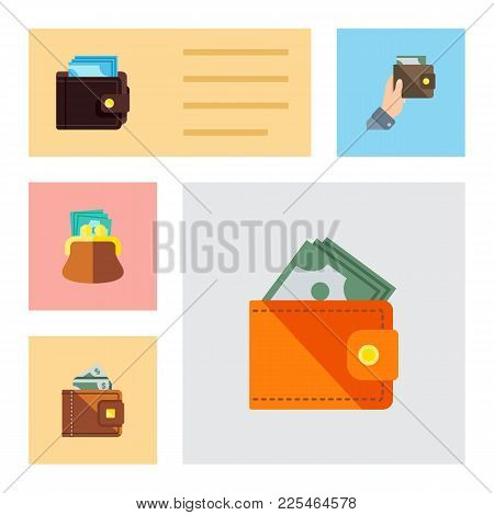 Icon Flat Wallet Set Of Saving, Payment, Currency And Other Vector Objects. Also Includes Money, Wal