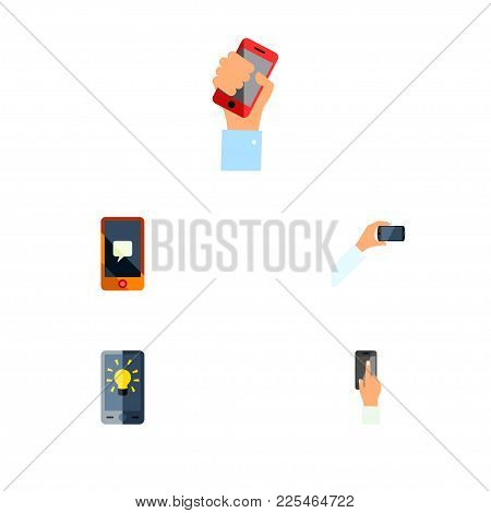 Icon Flat Touchscreen Set Of Interactive Display, Keep Phone, Brightness And Other Vector Objects. A