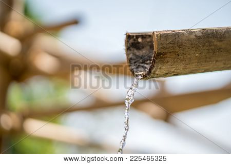 Traditional Bamboo Fountain With Water In Zen Garden