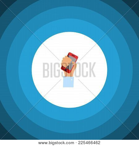 Isolated Holding Icon Flat. Cellphone  Element Can Be Used For Smartphone, Cellphone, Holding Design