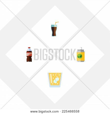 Icon Flat Beverage Set Of Fizzy Drink, Lemonade, Bottle And Other  Objects. Also Includes Beverage,