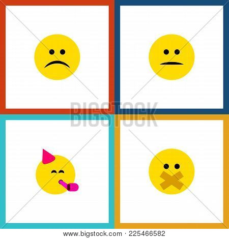 Icon Flat Expression Set Of Fun, Silent, Frown And Other  Objects. Also Includes Smile, Frown, Party