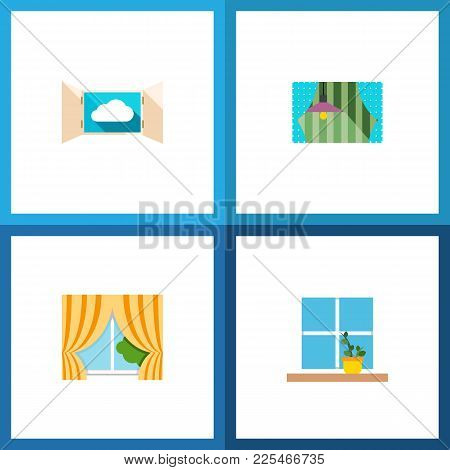 Icon Flat Glass Set Of Curtain, Open, Window And Other  Objects. Also Includes Glass, Window, Curtai