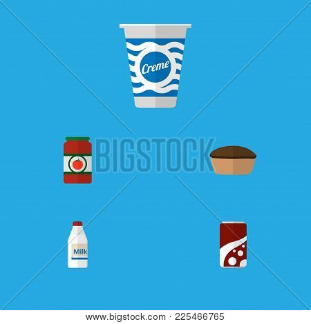 Icon Flat Meal Set Of Tomato Sauce, Cream, Milk And Other  Objects. Also Includes Tart, Sauce, Tomat