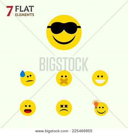 Icon Flat Emoji Set Of Cold Sweat, Dizzy Emoticon, Light Bulb Idea And Other  Objects. Also Includes