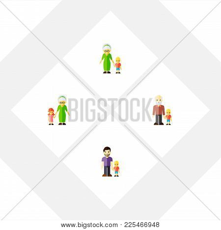Icon Flat Relatives Set Of Grandma, Grandson, Grandpa  Objects. Also Includes Family, Grandson, Gran