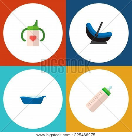 Icon Flat Child Set Of Children Bathing, Baby Bottle, Cradle And Other  Objects. Also Includes Baby,