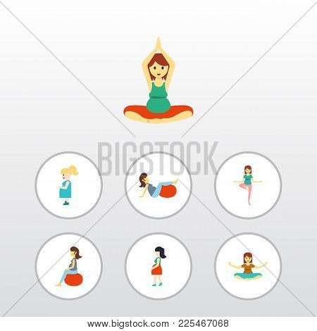 Icon Flat Pregnancy Set Of Fitness, Pregnant Woman, Yoga And Other  Objects. Also Includes Woman, Fi