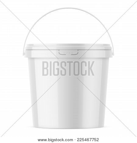 White Glossy Plastic Bucket For Food Products, Paint, Household Stuff. 900 Ml. Realistic Packaging M