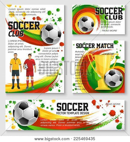 Soccer Sport Club Team Banner Template Of Football Championship Match. Soccer Ball, Player, Golden W