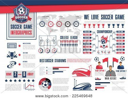 Soccer Or Football Sport Game Infographic. Football Championship Schedule With Soccer Ball And Winne
