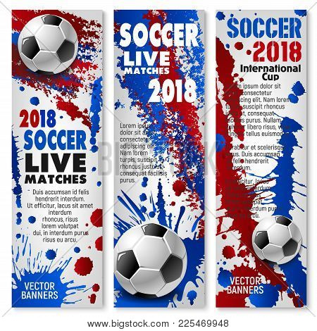 Soccer Sport Match Banner Set For Football Championship Tournament. Soccer Ball Sporting Competition