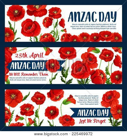 Anzac Day Greeting Banners Of Poppy Bunch For Australian War Commemorative Day Of Australia And New