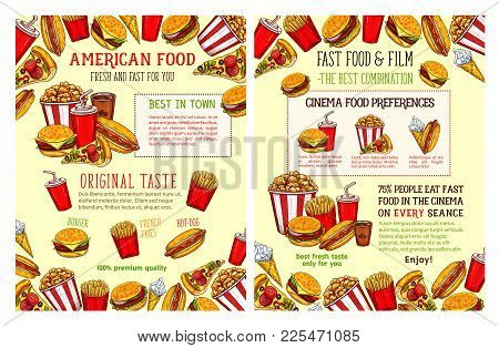 Fast Food Restaurant And Burger Cafe Poster With Lunch Menu Dishes. Hamburger And Hot Dog Sandwich,