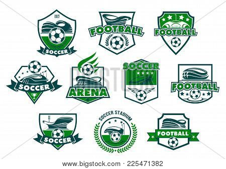 Soccer Sport Club Badge With Football Stadium. Soccer Ball, Sporting Arena And Winner Trophy Cup Her