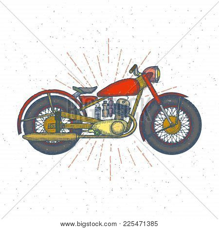 Hand Drawn Vintage Motorcycle Vector Logo Design Template. Bikeshop Or Motorcycle Service Icon. Vect