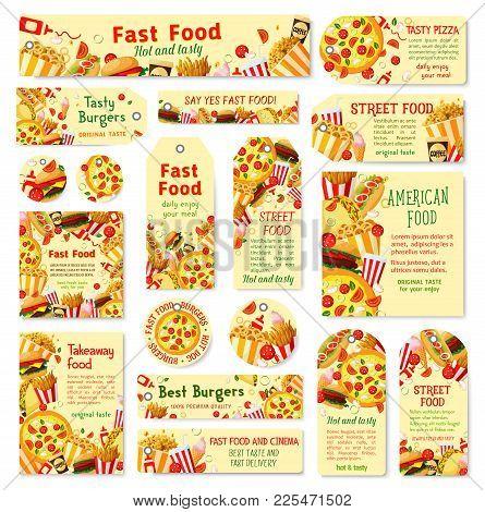 Fast Food Restaurant Tag And Menu Card Set. Hamburger, Hot Dog And Pizza, Cheeseburger, Fries And So
