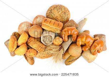 Bread products from wheat and rye flour isolated on white background. Top view