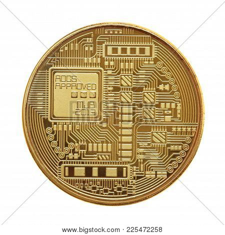 Detail Of Golden Bitcoin Isolated On White Background
