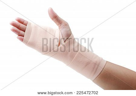 Medicine Bandage On Human Hand Isolated On White Background, Clipping Path.