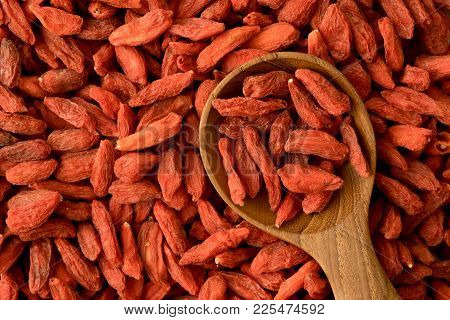 Close Up Red Dried Goji Berries Background , Superfood With High Nutritional And Medical Benefits